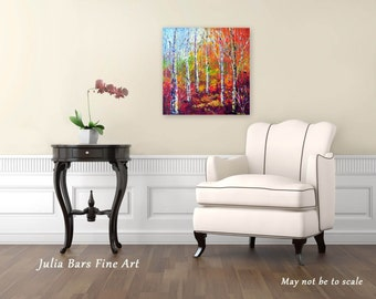 Birch Tree Print, Aspen Tree Art, Giclee Print, Autumn Painting, Red Art Print on Canvas, Landscape Painting, Canvas Art, Original Artwork