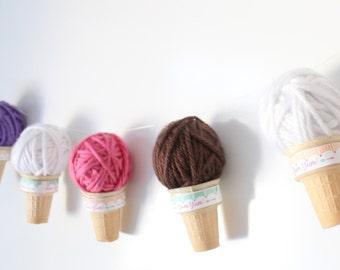 Ice Cream Cone Garland/Ice Cream Shoppe - 8 Cones/Party Garland/Ice Cream Party - Custom Options Available