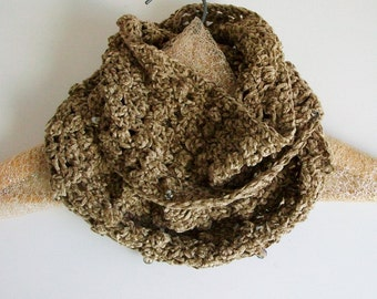 Vintage Style Tan Lace Chenille Scarf