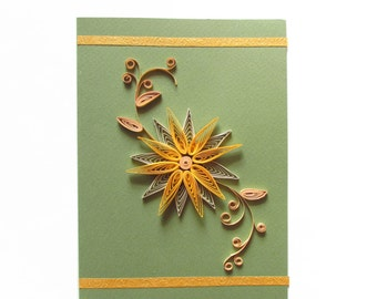 Flower Birthday Card, Quilling Birthday Card, Flower Greeting Card, Blank Birthday Card, Anniversary Card, Mother's Day Card