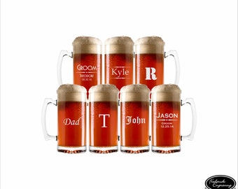 SEVEN Personalized Beer Glasses, SHIPS FAST,  Etched Beer Mugs, Custom Engraved Beer Mugs, Groomsman Gift, Wedding Glasses, Groomsmen Gifts