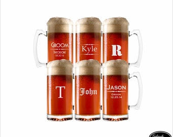 SIX Etched Wedding Party Glasses, SHIPS FAST, Personalized Beer Mugs, Custom Beer Glasses, Groomsmen Gift, Will You Be My Groomsman