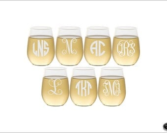 SEVEN Stemless Wine Glasses, SHIPS FAST, Custom Engraved Monogram Wine Glasses, Personalized Stemless Wine Glasses, Etched Wedding Glasses