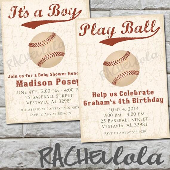 Vintage Baseball Birthday Invitations: Vintage Baseball Birthday Invitation Or Baby Shower