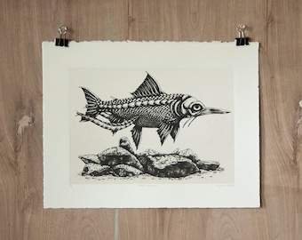 Mengu Bonefish - Silkscreen Print - Scientific Study