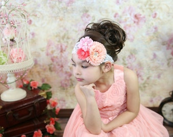 Peach Coral Headband, Peach Blush Headband, Spring Headband, Baby Shower Gift, Newborn Photo Prop, Adult Headband, Flower Girl Headband