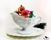 Vintage Milk Glass Sauce Boat, Gravy Boat  Decorative Serveware, Shabby Decor, Thanksgiving Table Accessory