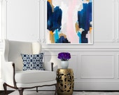 Ava, 6x6-32x32in, Abstract Fine Art Print, abstract print, from original acrylic painting, blue abstract, pink abstract