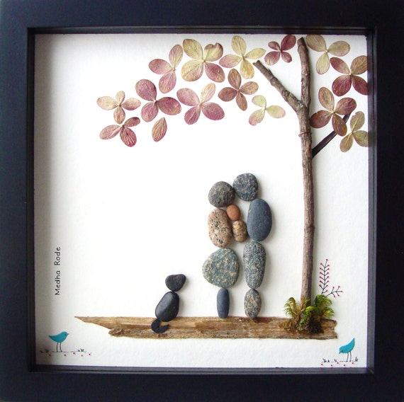Wedding Gift Ideas For Family : Anniversary Gift- Family of Three- Family of 3 and Dog- New Baby Gift ...