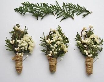 Rustic Boutonniere woodland wedding boutonniere white flower boho boutonniere Groomsmen winter buttonhole cedar lapel pin boutonniere JOHN