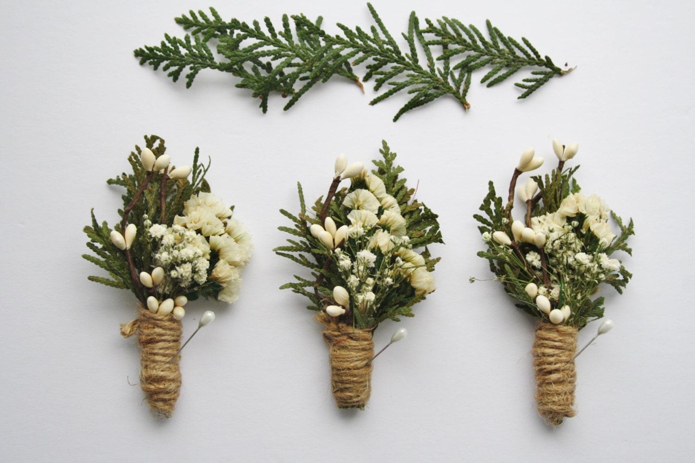 Rustic Boutonniere Woodland Wedding White Flower