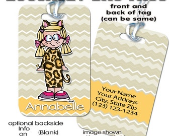 "Bag tag, luggage tag travel "" ""Annabelle -Melonheadz original art"" "" 4 x 2.75 inch tags, backpack, custom, personalized, plastic FRP"