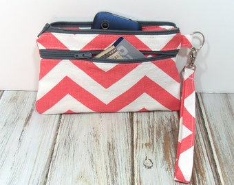 Coral Chevron Clutch, Coral Phone Wallet, Cell Phone Wristlet, Medium Zipper Bag