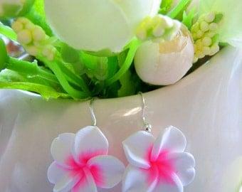 Frangipani Tropical Plumeria flower Hawaiian dangle earrings white hot pink