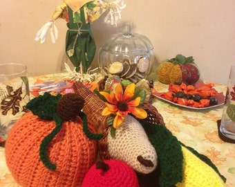 Handmade Crocheted Cornucopia with Fruit & Veggies