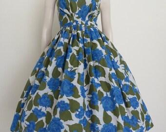 GORGEOUS 1950s Blue Roses Party Dress / Full Skirt / Mad Men / Garden Party