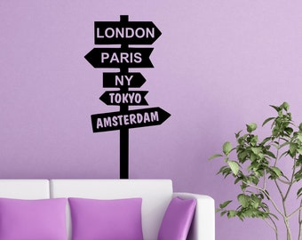 Street Sign Wall decal decor decals art London Paris NY Tokyo Amsterdam pointer post Index  AS@33