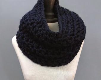 Navy Chunky Cowl Neckwarmer Womens Hand Crochet Infinity Scarf