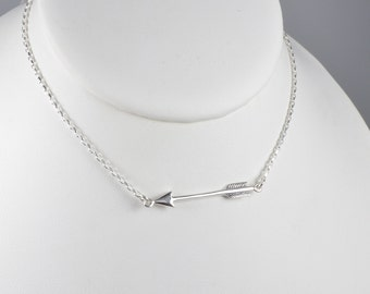 Sterling Silver Arrow Necklace, Silver Arrow Necklace, Arrow Necklace, Arrow Charm Necklace