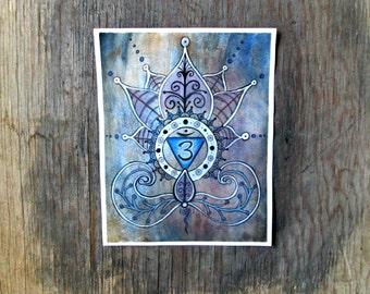 Third Eye Chakra Print - Yoga Art - Lotus Painting - Shanti - Spiritual art - Buddhist art  - Meditation Art - Chakra Art