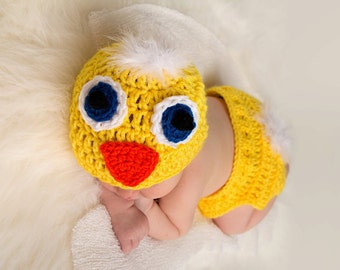 Spring Easter Duck crochet Beanie Hat & Diaper Cover Boy or Girl Many Sizes preemie, newborn,0-3 month, 3-6 month 6-12 month chicken hat set