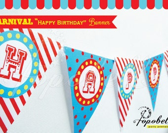 """Carnival """"Happy Birthday"""" Banners for Circus Birthday. DIY Circus Bunting Printables. Non-Personalized Circus Banners. Instant Download."""