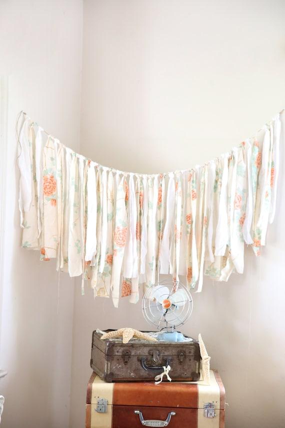 Items similar to fabric wedding garland shabby chic for Shabby chic garland lights