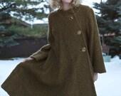 Vintage 1950's Coat / Swing Coat / Olive Green Wool Coat /Winter Coat  /  size Large