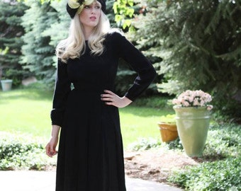"""Vintage 1960s """"Jean Louis"""" Dress / Elegant Black Dress / Designer Dress / S"""