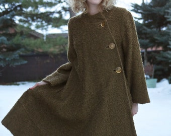 Vintage 1950's Coat / Swing Coat / Olive Green Wool Coat /Winter Coat  /  size Large
