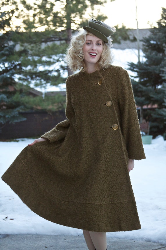 manteau vintage 1950 swing coat manteau vert olive laine. Black Bedroom Furniture Sets. Home Design Ideas