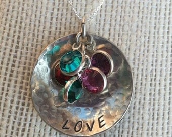 Mother's Love Necklace with birthstones