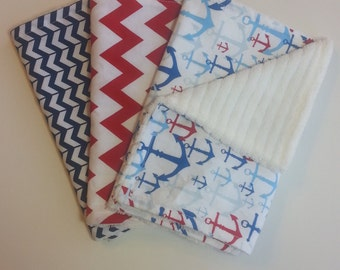 Baby Boy Nautical Burp Cloth Set: Set of 3 burp cloths, Anchor burp cloth, Red and White Chevron Burp Cloth and Navy and White Burp Cloth