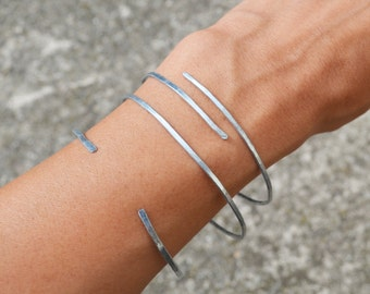 Hammered Bangle Bracelet Cuff, Bohemian Jewelry Stacking Silver Bracelets SET of 3
