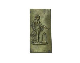 Antique Athena Plaque. Mythological Goddess. French Furniture Hardware. Bronze Goddess Figure.