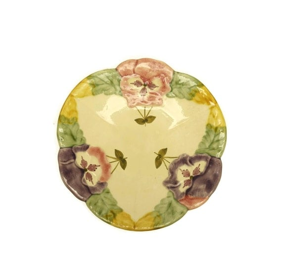 French Majolica Plate Hand Painted Flower Plate Majolica