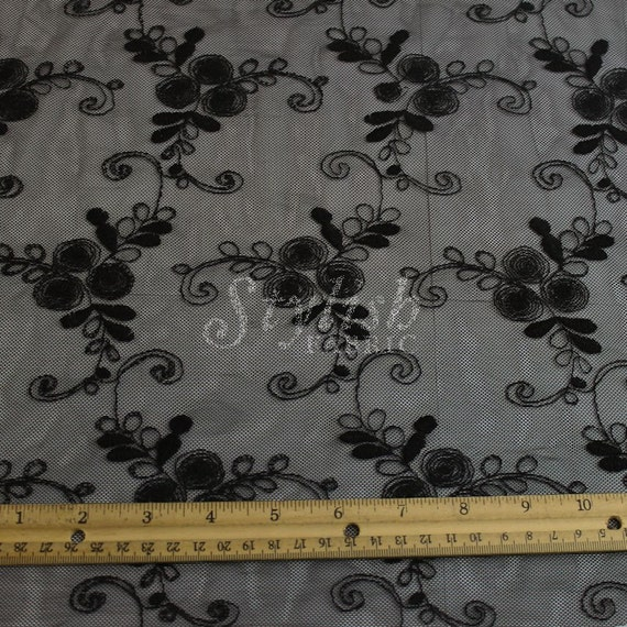 Hairline Vine Black Cotton Nylon Embroidery Lace Fabric By The