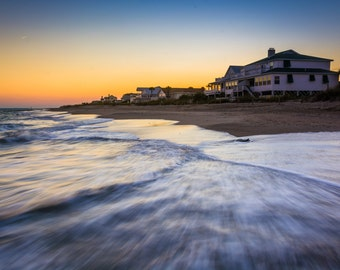 Waves in the Atlantic Ocean and beachfront homes at sunset, Edisto Beach, South Carolina - Photography Fine Art Print or Wrapped Canvas