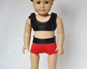 "American Girl 18"" Doll  -  Cheerleader Sports Bra and Shorts - Black Mystique and Red"