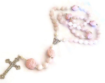 GIRL'S ROSE Quartz Rosary Sterling Silver And Pearl Rosary, Baptism Gift, Catholic Rosary, Religious Gifts, First Communion, Child's Rosary