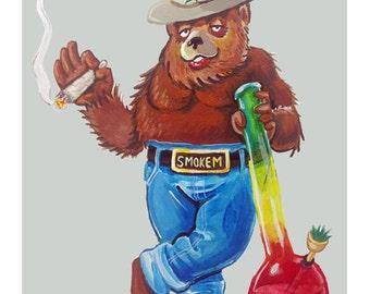Smoked-out bear -- 8x10 Art Print
