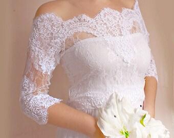 Bridal lace  bolero  Off-Shoulder / French Lace /wedding jacket/  shrug/ lace top