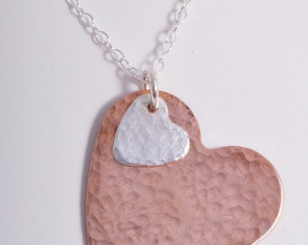 Sterling Silver and copper Hammered Heart duo Necklace Pendant Charm Handmade charm chain necklace