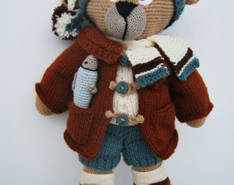 Crochet Teddy Bear with Fish; Knitted Clothes; Complete Wardrobe; Knitted Toy; Crochet Toy; Crochet Animal Toy; Christmas Toy;