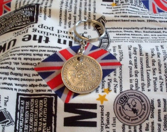 1947 Old Florin 2 Shillings Coin Keyring Key Chain Fob