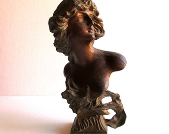 "Antique Art Nouveau ""Judith"" French Spelter Bust"