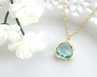 Aqua Necklace, Aqua Pendant, Holiday Necklace, Christmas Gift, Christmas Necklace, Holiday Gift, Bridesmaid Necklace, Gift for Best Friend