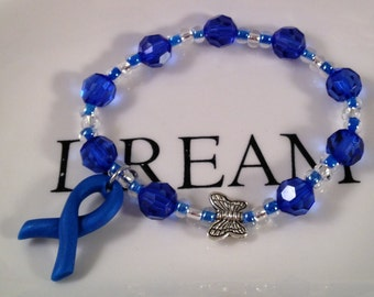 Children's Awareness Bracelets w Assorted Polymer Charms,Blue Ribbon,Juvenile Arthritis,Bullying Awareness,Rare Genetic Disorders,ALS