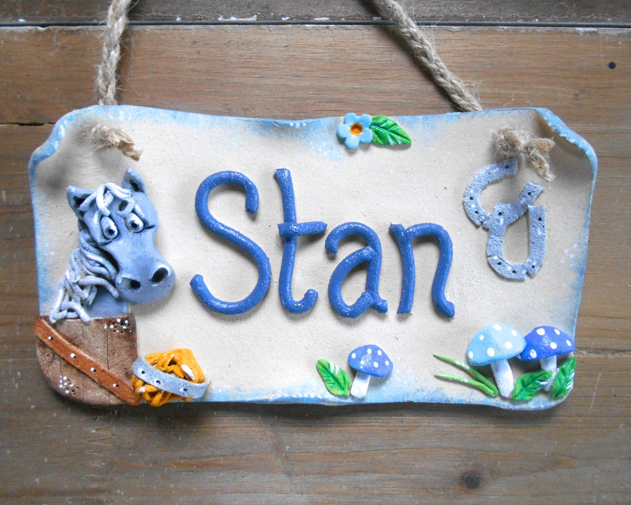 Stable Stall Sign Horse Name Plate by BlueFishStudiosShop