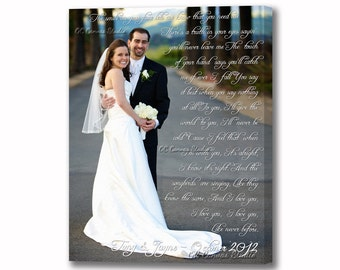 Photo with your Wedding Song Lyrics, Vows, Love Quotes, Memories, Prayers. Custom Canvas Print Wall Decor.